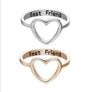 NEW Silver Rose Gold Best Friend Ring Set 2pc